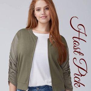 NWT Lane Bryant Woven Sleeve Sweater Jacket